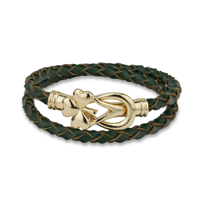 GP SHAMROCK LEATHER WRAP BRACELET