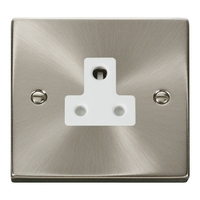 Click Litehouse DECO 5A Unswitched Socket White Insert Satin Chrome