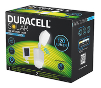 DURACELL SOLAR SECURITY LIGHT 120 LUMEN WITH MOTION SENSOR  (WHITE FINISH)