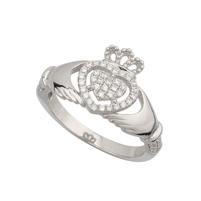 CUBIC ZIRCONIA CLADDAGH RING