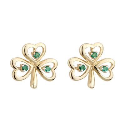 14K gold emerald shamrock earrings s33484 from Solvar