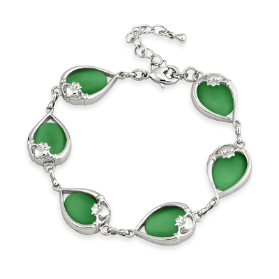 RHODIUM PLATED GREEN CAT EYE CLADDAGH BRACELET