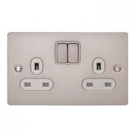 Schneider Flat Plate 2G 13A Switch SKT PEARL NICKEL WH INSERT | LV0701.0162