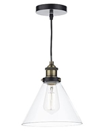 Ray 1 Light Pendant, Antique Brass Clear | LV1802.0086