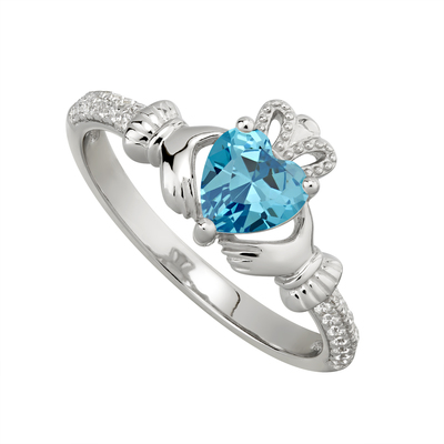 AQUAMARINE CLADDAGH RING (MARCH BIRTHSTONE)
