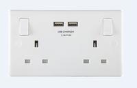 BG MASTERPLUG 2G SWITCHED 13A SOCKET C/W 2 USB 3.1A