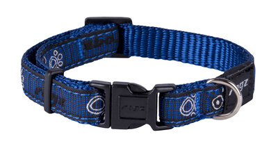"Rogz Navy Paw Small (Jelly Bean) Adjustable Collar 8""-12"" x 1"