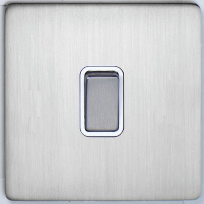 DETA Screwless 1 Gang Switch Satin Chrome White | LV0201.0062