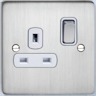 DETA Flat Plate 1gang Socket Satin Chrome with White Insert   LV0201.0188