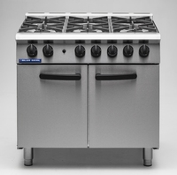Blue Seal Range, gas, 900 mm, (6) 5.8 kW open burners, semi sealed hob, 2/1 GN oven, side hinged doors, (5) oven positions, supplied with (2) wire shelves, stainless steel finish, adjustable legs 147,000 BTU, 42.7 Gas kW 900x750x921mm