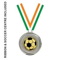 40mm Soccer Medal & TRI Ribbon (Silver)