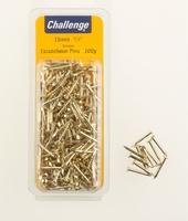 Challenge Brassed Escutcheon Pins 15mm 100g Clam Pack
