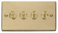 Click Deco Victorian Polised Brass 4Gang 2 Way Toggle Switch | LV0101.1827