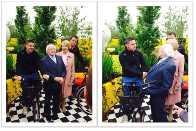 President Higgins visits the Solus Garden at Bloom and raises €1,000 for Pieta House