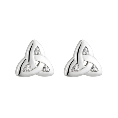 14K WHITE TRINITY KNOT DIAMOND STUD