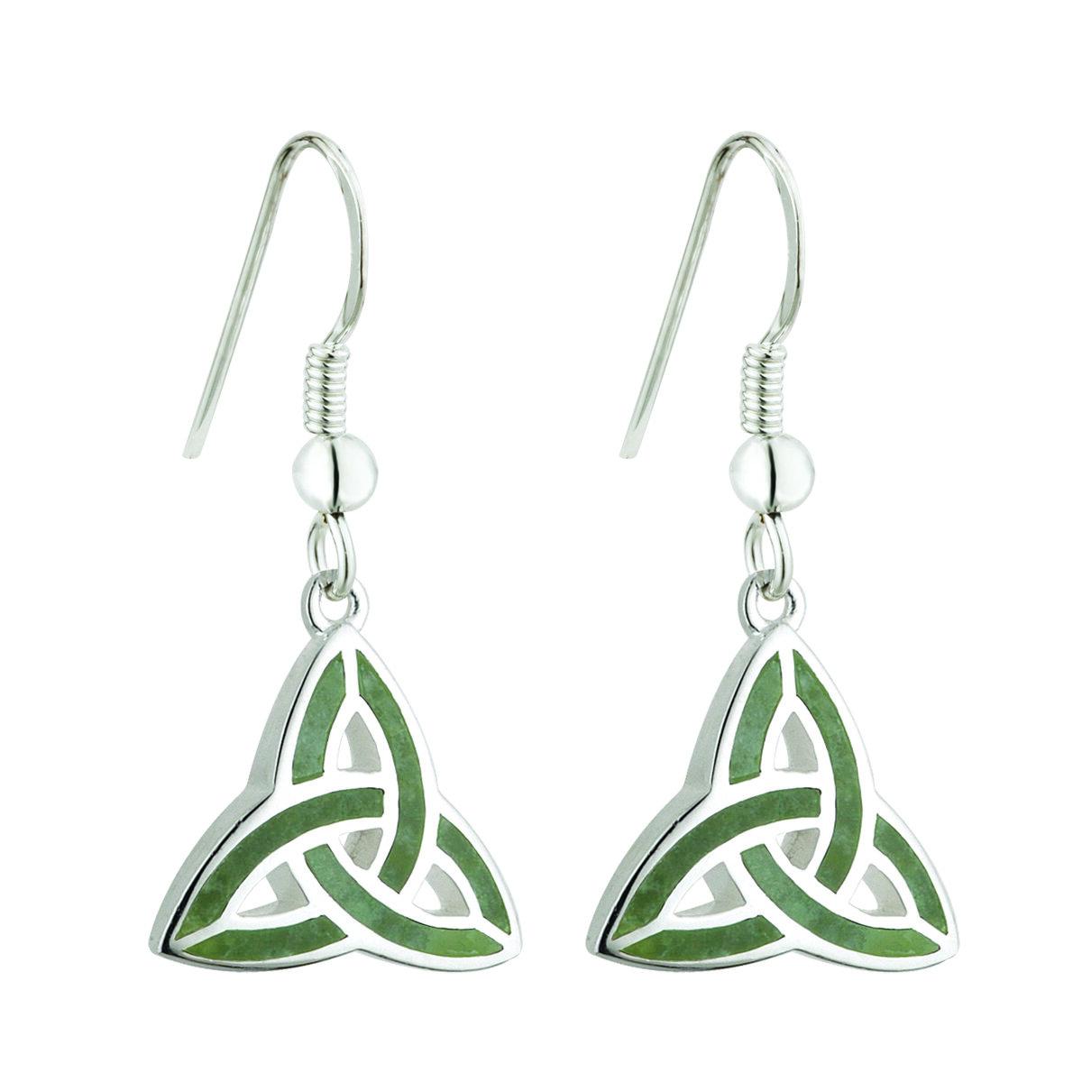 sterling silver connemara marble trinity knot drop earrings s33301 from Solvar