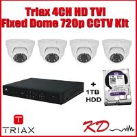 Triax 720p Dome 4 Channel CCTV Kit - White