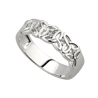 14K WHITE DIAMOND TRINITY BAND