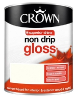 CROWN NON-DRIP GLOSS PAINT BRILLIANT WHITE 1 LTR