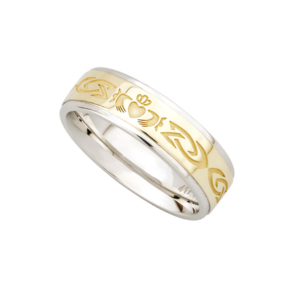 SILVER & 10K GOLD CLADDAGH LADIES BAND