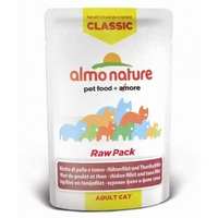 Almo Nature Classic Cat Pouch Raw Pack Chicken & Tuna Fillets 55g x 24
