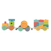 Colourful wooden pull along toy train with rolling bell and stacking building blocks