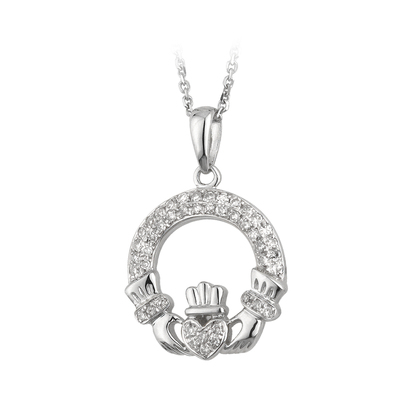 14KW MICRO DIAMOND CLADDAGH PENDANT(BOXED)