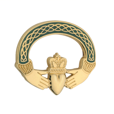 GP GREEN CLADDAGH BROOCH(BOXED)