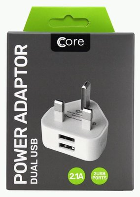 Core 2.1Amp Dual USB Mains Charger