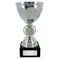 22cm Silver Metal Bowl on Black Marble(V2251S