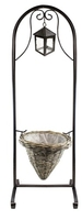Welcome Planter Basket Stand with Lantern - Grey