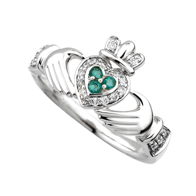 14K WHITE DIAMOND & EMERALD CLADDAGH RING