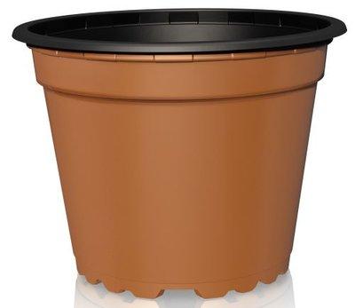 Teku VTG12 Round Pot 8° Thermoformed 12cm - Terracotta/Black