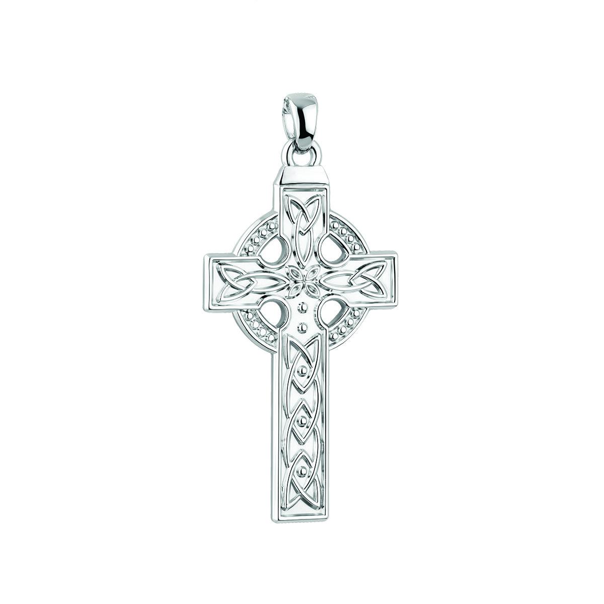 14k white gold large celtic cross charm s8814 from Solvar