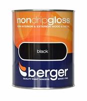 BERGER NON-DRIP PAINT GLOSS BLACK 750 ML