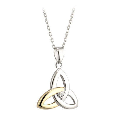 sterling silver and 10k gold diamond trinity knot pendant s45347 from Solvar