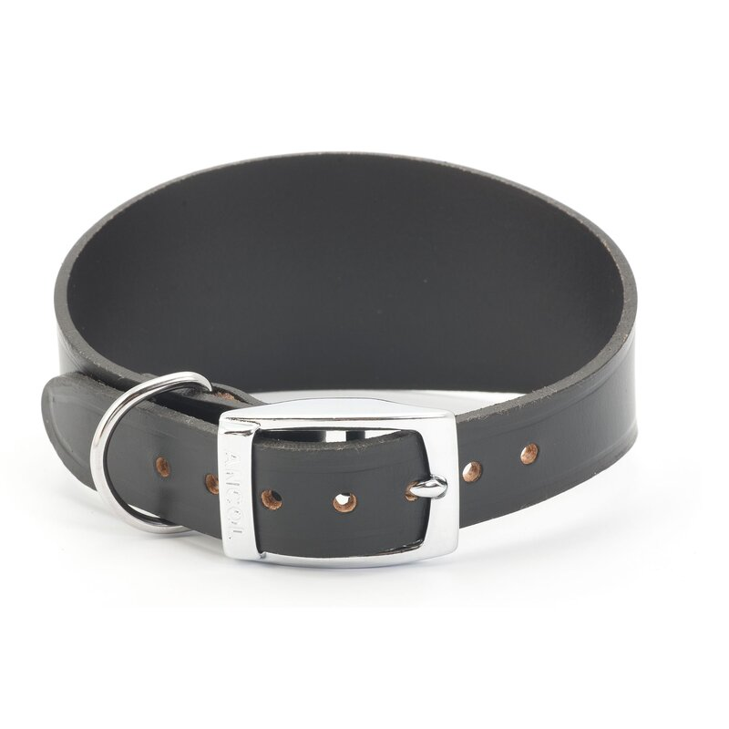 Ancol Black Leather Greyhound Collar 47cm