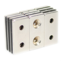 NEODYMIUM MAGNETS | RECTANGULAR WITH COUNTERSUNK HOLE 40X20X5MM N35 NICKEL