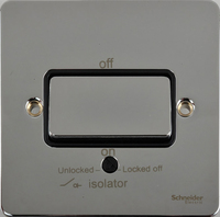 Schneider Ultimate Low Profile Fan Isolator switch Polished Chrome with Black Insert  | LV0701.0061