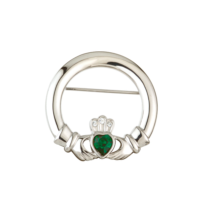 RHODIUM PLATED GREEN CRYSTAL HEART CLADDAGH BROOCH