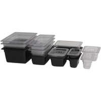 Genware Solid Lid For Gastro Pan Polycarb Clear 1/2 size