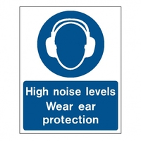 High Noise Level Use Ear Protectors Sign 600x450mm
