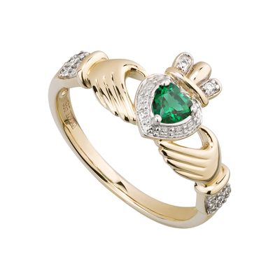 14K DIA & CREATED EMERALD CLADDAGH RING(BOXED)