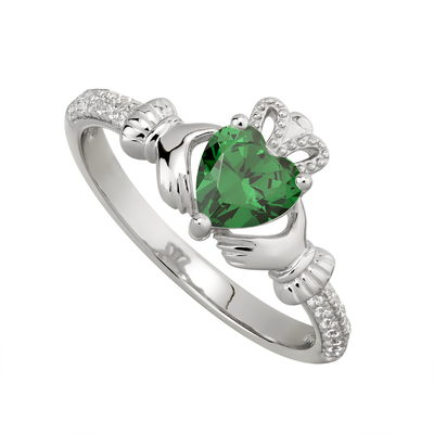 EMERALD CLADDAGH RING (MAY BIRTHSTONE)