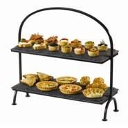 Rectangular Tray 2 Tier Stand+Iron Frame 32x15x39cm