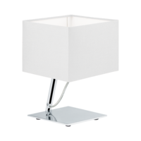 EGLO Nambia 1 Polished Chrome with White Shade Square Table Lamp | LV1902.0079