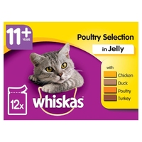 Whiskas Pouches - 11+ Poultry Selection Jelly 100g 12-Pack x 4