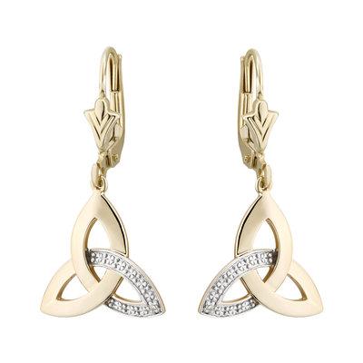 10K DIAMOND TRINITY KNOT DROP EARRINGS