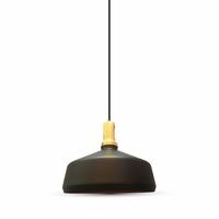 Modern Wooden Top Pendant Black