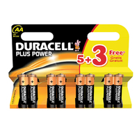 Duracell Plus AA Battery 5+3 FOC